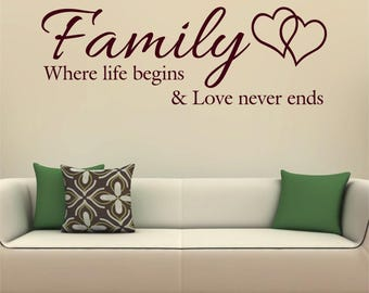 Family Where Life Begins and Love Never Ends Decor Wall Quote Matt Vinyl Sticker Decal Hearts *20 colours* *Two Sizes*
