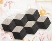 MOD ILLUSION Felt Coasters (Set of 6) – Cork Base, Felt Tile Pattern Felt Tableware, Modern Minimalist Design, Hex Coasters, Felt Decoration
