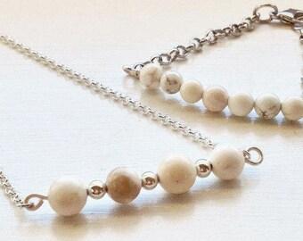 Fidget Bracelet, Fidget Necklace, Howlite Beads, Anxiety Jewelry, Jewelry for Anxiety, Sterling Silver & Gold, Fidget Jewelry for Women