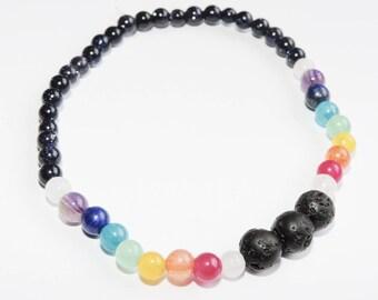 Chakra Lava Rock Diffuser Essential Oil Mala Bracelet Yoga Bracelet Intention Bracelet Namaste Bracelet 4mm Blue Goldstone Jade Bracelet