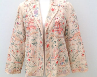 1920s jacket Chinese embroidered silk vintage antique