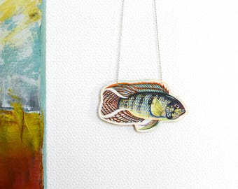 Vintage fish collage paper necklace - Upcycled vintage newspaper illustration