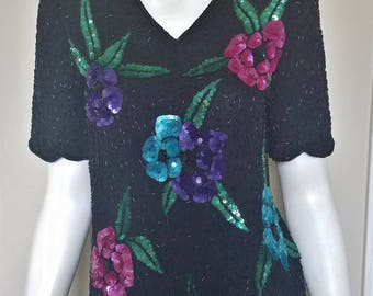 Vintage Stenay Floral Beaded Blouse, Size Small
