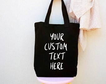 Canvas tote bag, personalized, black totes, shopping bag, everyday bags, beach, totes for bridesmaids, bride squad, for Mom..