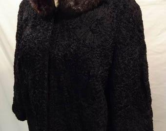 Vintage Ladies Black Ribbon Jacket With Mink Collar.1960's, Vintage Clothes, Vintage Coats, Home and Living,Ladies Ribbon Coat.,