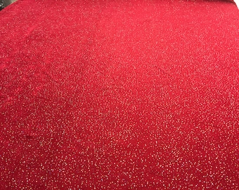 Red Slinky Knit Fabric with Hologram Glitter Fabric