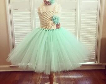 Mint and ivory tutu dress, mint green tutu dress, flower girl tutu dress, birthday tutu dress