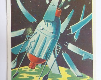 Preparing to Land Topps Target Moon Trading Card Number 30 of 88 1958 Salmon Back Non Sports Atomic Age Mid Century Collectible Card Art