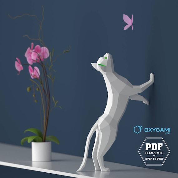 Gato 3d papercraft 3d plantilla pdf papercraft animales low - Animaux en papier 3d ...