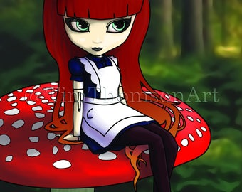 """ACEO Print of my digital painting """"Alice Waiting"""", a highly collectible, limited edition Art Trading Card"""
