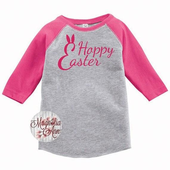 Happy Easter Shirt, Hoppy Easter Shirt, Kids Easter Shirt , Toddler Easter Shirt, Toddler Easter Raglan, Toddler Raglan, Easter Raglan