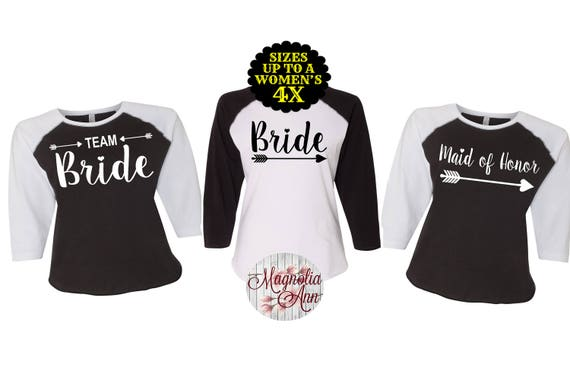 Bride Baseball Shirt, Team Bride Arrow Shirt, Plus Size Bridesmaid Shirts, Bachelorette Shirts, Plus Size Bride, Bridesmaid Shirts, Bride