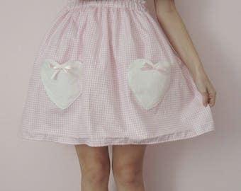 Pink Gingham Heart Pocket Skirt
