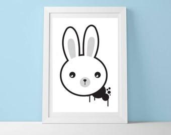 Street Bunny Art Print, Wall Art, Home Décor, Cute Art Print, Kids Room Decor, Scandinavian, Monochrome, Nursery decor