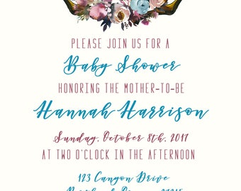 DIGITAL OR PRINTED Boho Baby Shower Invitation