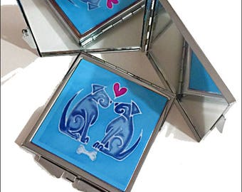 Love Dogs Pocket Mirror - Turquoise & Grey Compact Mirror - Dog Lover Gift - Valentine Dogs Mirror - Small Purse Mirror Handbag Accessory