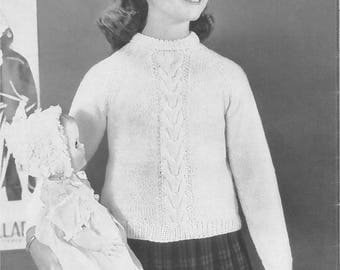 Vintage Girl's Cable Pullover Sweater Knitting Pattern PDF 1954
