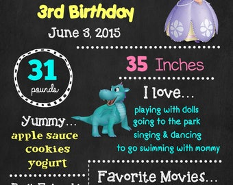 Sofia the First Birthday Chalkboard Poster - Disney Princess Wall Art design - Birthday Poster Sign - Any Age