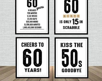 60th Birthday Poster Sign Bundle Pack, Back in 1958, Printable, Cheers to 60 Years, 60 in scrabble, Kiss the 50's Goodbye