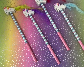 Unicorn Pencil With Unicorn Eraser Topper, Unicorn Pencil, Unicorn Eraser, Unicorn, Pencil, Wooden Pencil, Unicorn Stationery