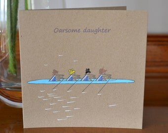Awesome Daughter Card, Rowing Greetings Card For an Awesome Daughter, Rower Card