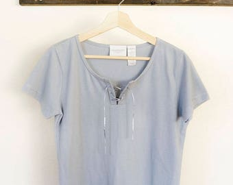 summer basics, baby blue 90s Liz Claiborne tee with lace up front, size small