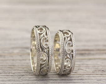 vintage style silver wedding bands nature wedding rings couple rings leaves wedding band - Nature Wedding Rings