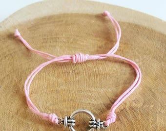 """Pink sailor knot"" waxed cotton cord bracelet"