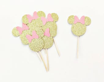 Minnie Mouse Cupcake Toppers / Minnie Mouse First Birthday / Mickey Mouse Birthday Party / Disney Party Decorations / Oh TWOdles