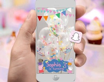 Peppa Pig Birthday Party Snapchat Filter with Custom Name & Age with Bunting Banners at the Top - Pink Pig Kids Birthday