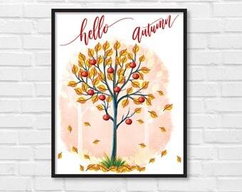 Hello Autumn / Autumn Art Print / Fall Print / Autumn Poster / Autumn Fall Illustration / DIY / Instant Download Print / Wall Art / [01]