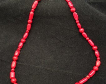 Southwestern Handmade Sterling silver Red Bamboo Coral Necklace, Ladies Red Coral Necklace