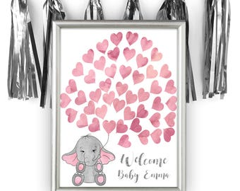 Pink Baby Shower Guest Book Alternative, Elephant Baby Shower Guest Book Alternative, Girl Baby Shower Guestbook, Little Peanut, El-25