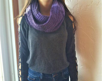 Scarf infinity purple * ready to ship * two laps, multi-tone scarf, perfect for the winter scarf knitted by hand