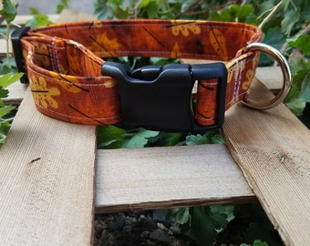 Cute Fall/Thanksgiving Leaves and Acorn Pattern Dog Collar