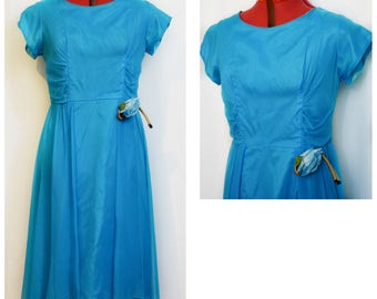 Blue 50s Party Wiggle Dress with Fabric Rose