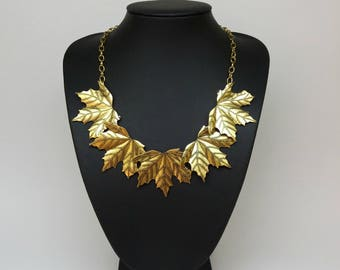 Total gold leaf Bib Statement autumn necklace,Gold necklace,Gold chain, Short necklace,short necklace gold,modern necklace, romantic gift