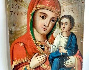 Rare Orthodox Tikhvin Icon Mother of God Theotokos of Tikhvin Russian Empire Hand Painting Wood 17.5x12.5cm