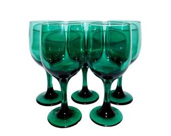 Vintage 5pc Emerald Green Glass Wine Glass Set