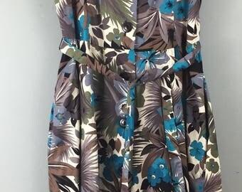 Vintage blue floral crisp cotton tea dress UK 12/14 50s style