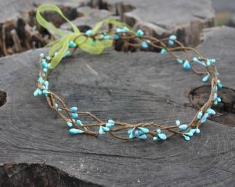 Spring flower crown  Hair Crown blue hair crown Spring wedding crown Hair Wreath Bridal Flower Bridal hair vine berries Headpiece Vine