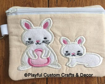 Momma and Baby Bunny Zipper Pouch