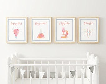 Science Nursery Prints / Watercolor Art Printable / Kids Room Decor / Science Party Decorations / Science Classroom Posters / STEM Birthday