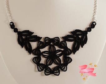 Black lace necklace Black embroidered necklace Black necklace Statement Necklace Lace jewelry Black Bib Necklace Embroidered Jewelry