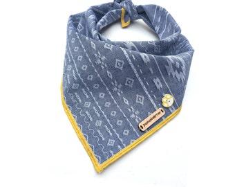 WREN: Aztec dog bandana, boho dog bandana, dog bandana, dog bandanas, denim dog bandana, puppy bandana, dog accessories, dog neckwear