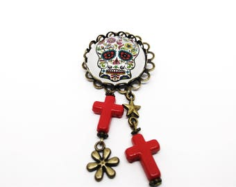 Calavera brooch - skull Mexican - sugar skull - dia los muertos - day of the dead
