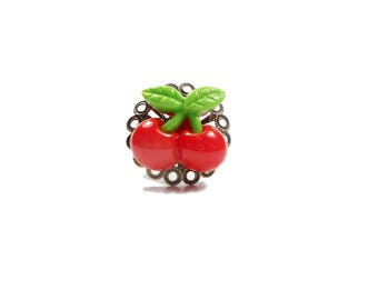 SALE 50% ring leaking vegan fruit was cherry red vegan veggie vegetarian