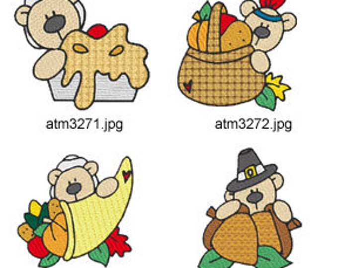 Teddy-Thanksgiving-Bears ( 7 Machine Embroidery Designs from ATW ) XYZ17I