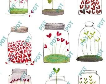 Stickers pot en verre