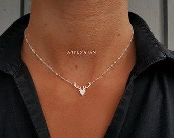 Deer necklace, antler necklace, deer pendant, stag necklace, silver deer necklace, reindeer necklace, deer charm, silver deer jewelry charms